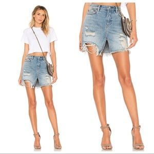 Free People Relaxed & Distressed Denim Skirt
